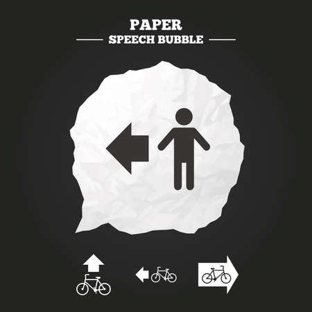 trail sign: Pedestrian road icon. Bicycle path trail sign. Cycle path. Arrow symbol. Paper speech bubble with icon.