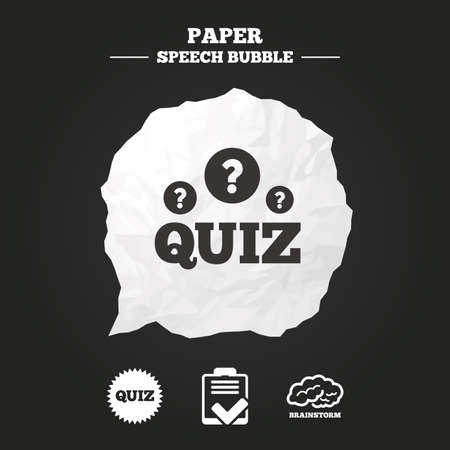 feedback form: Quiz icons. Brainstorm or human think. Checklist symbol. Survey poll or questionnaire feedback form. Questions and answers game sign. Paper speech bubble with icon.