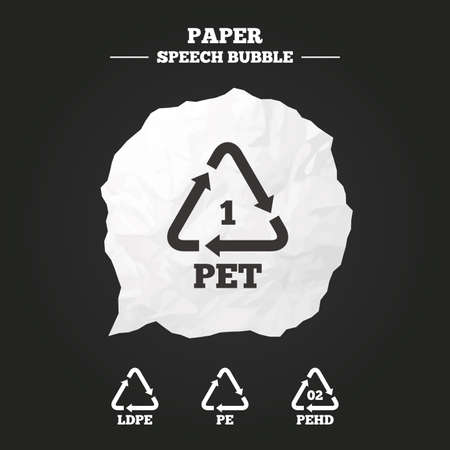 polyethylene: PET, Ld-pe and Hd-pe icons. High-density Polyethylene terephthalate sign. Recycling symbol. Paper speech bubble with icon.