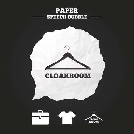 Cloakroom icons. Hanger wardrobe signs. T-shirt clothes and baggage symbols. Paper speech bubble with icon.