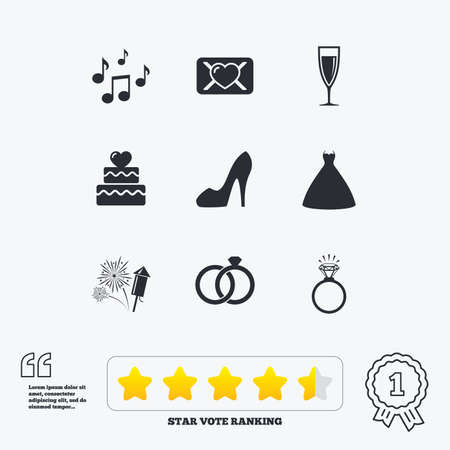 vow: Wedding, engagement icons. Cake with heart, gift box and vow love letter signs. Dress, fireworks and musical notes symbols. Star vote ranking. Award achievement and quotes.