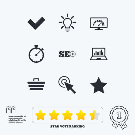 star award: Internet, seo icons. Bandwidth speed, online shopping and tick signs. Favorite star, notebook chart symbols. Star vote ranking. Award achievement and quotes.