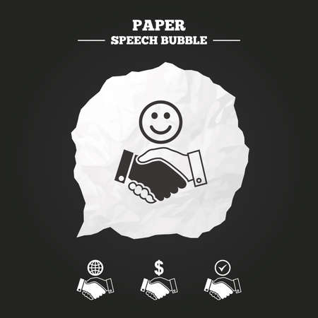 amicable: Handshake icons. World, Smile happy face and house building symbol. Dollar cash money. Amicable agreement. Paper speech bubble with icon.