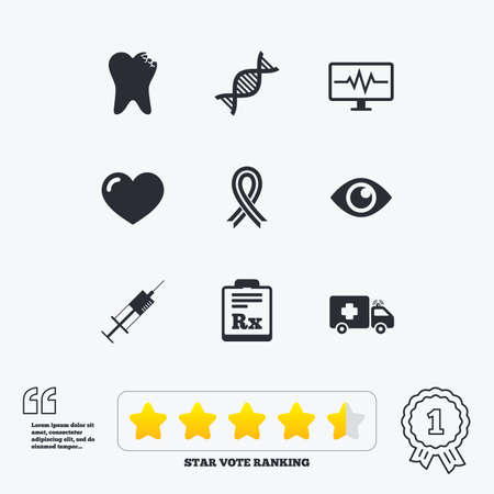 awareness ribbon: Medicine, healthcare and diagnosis icons. Tooth, syringe and ambulance signs. Dna, awareness ribbon symbols. Star vote ranking. Award achievement and quotes.