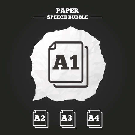 Paper size standard icons. Document symbols. A1, A2, A3 and A4 page signs. Paper speech bubble with icon.