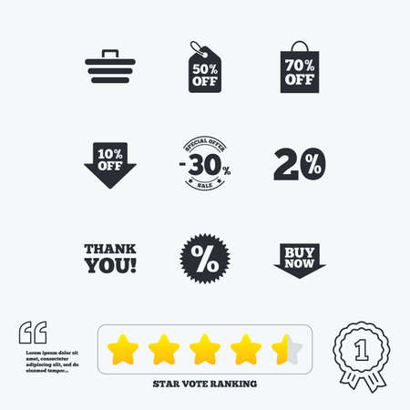 star award: Sale discounts icon. Shopping cart, coupon and buy now signs. 20, 30 and 50 percent off. Special offer symbols. Star vote ranking. Award achievement and quotes.