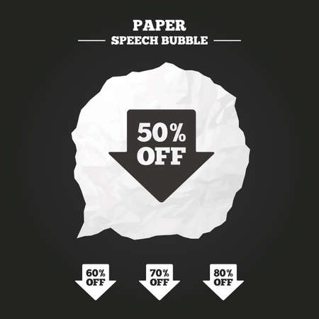 50 to 60: Sale arrow tag icons. Discount special offer symbols. 50%, 60%, 70% and 80% percent off signs. Paper speech bubble with icon.