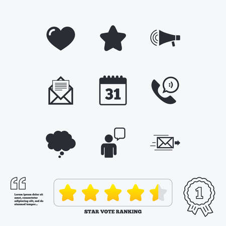 star award: Mail, contact icons. Favorite, like and calendar signs. E-mail, chat message and phone call symbols. Star vote ranking. Award achievement and quotes.