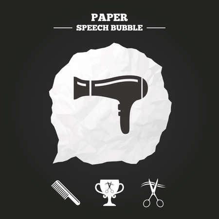 comb out: Hairdresser icons. Scissors cut hair symbol. Comb hair with hairdryer symbol. Barbershop winner award cup. Paper speech bubble with icon.