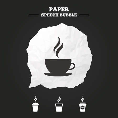 takeout: Coffee cup icon. Hot drinks glasses symbols. Take away or take-out tea beverage signs. Paper speech bubble with icon.