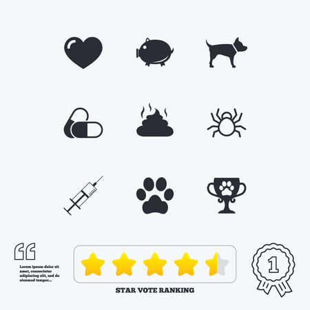 feces: Veterinary, pets icons. Dog paw, syringe and winner cup signs. Pills, heart and feces symbols. Star vote ranking. Award achievement and quotes.