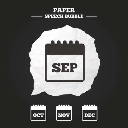 sep: Calendar icons. September, November, October and December month symbols. Date or event reminder sign. Paper speech bubble with icon. Illustration