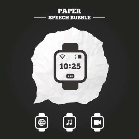 watch video: Smart watch icons. Wrist digital time watch symbols. Music, Video Illustration