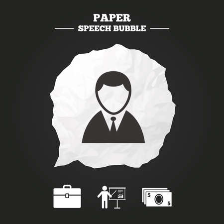 paper case: Businessman icons. Human silhouette and cash money signs. Case and presentation with chart symbols. Paper speech bubble with icon. Illustration