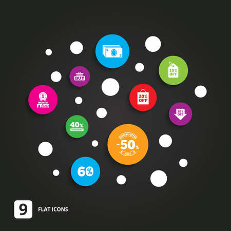 40 50: Sale discounts icon. Shopping cart, buying and cash money signs. 40, 50 and 60 percent off. Special offer symbols. Flat circle buttons with icons on black. Illustration