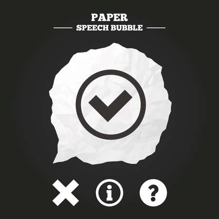 clear out: Information icons. Delete and question FAQ mark signs. Approved check mark symbol. Paper speech bubble with icon.
