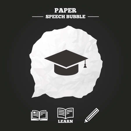 higher: Pencil and open book icons. Graduation cap symbol. Higher education learn signs. Paper speech bubble with icon.