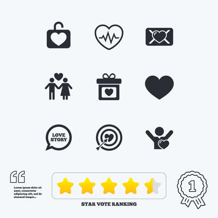 Love, valentine day icons. Target with heart, oath letter and locker symbols. Couple lovers, heartbeat signs. Star vote ranking. Award achievement and quotes.