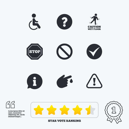 star award: Attention caution icons. Question mark and information signs. Injury and disabled person symbols. Star vote ranking. Award achievement and quotes.