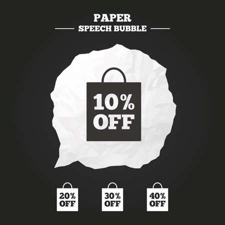 discount buttons: Sale bag tag icons. Discount special offer symbols. 10%, 20%, 30% and 40% percent off signs. Paper speech bubble with icon.