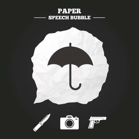edged: Gun weapon icon.Knife, umbrella and photo camera signs. Edged hunting equipment. Prohibition objects. Paper speech bubble with icon.