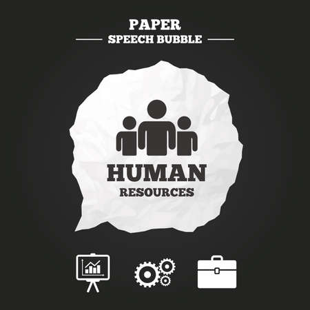 paper case: Human resources and Business icons. Presentation board with charts signs. Case and gear symbols. Paper speech bubble with icon.
