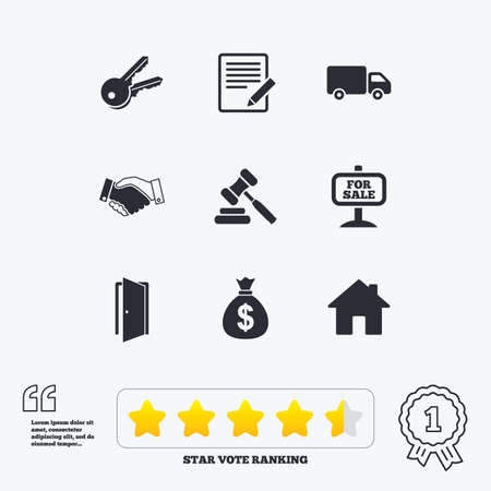 car for sale: Real estate, auction icons. Handshake, for sale and money bag signs. Keys, delivery truck and door symbols. Star vote ranking. Award achievement and quotes.