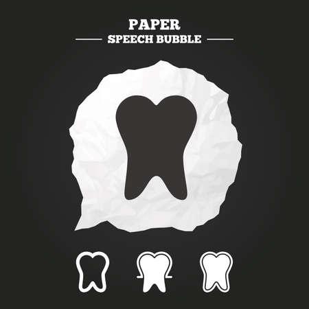 comunicacion oral: Iconos de la protecci�n del esmalte dental. Signos de atenci�n dental. Dientes sanos s�mbolos. Burbuja de papel del discurso con el icono. Vectores
