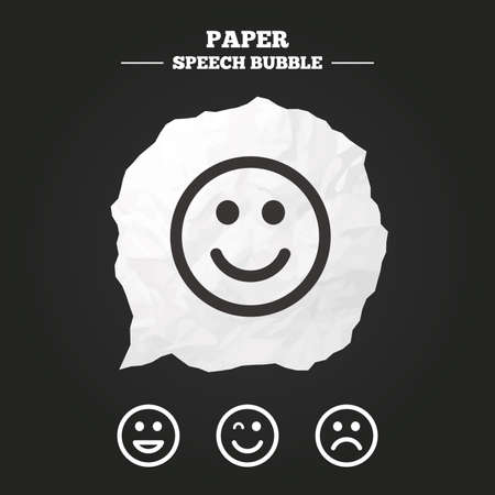 smile icon: Smile icons. Happy, sad and wink faces symbol. Laughing lol smiley signs. Paper speech bubble with icon.
