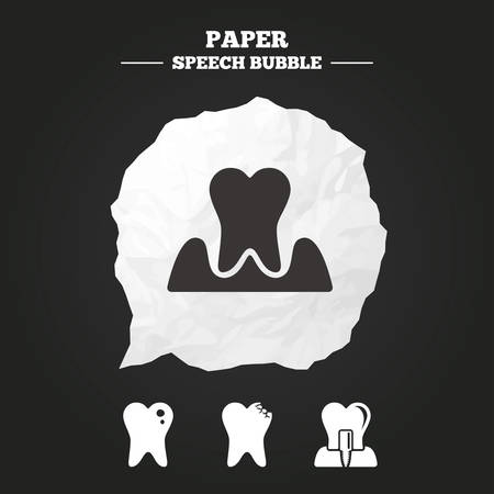 gingivitis: Dental care icons. Caries tooth sign. Tooth endosseous implant symbol. Parodontosis gingivitis sign. Paper speech bubble with icon.