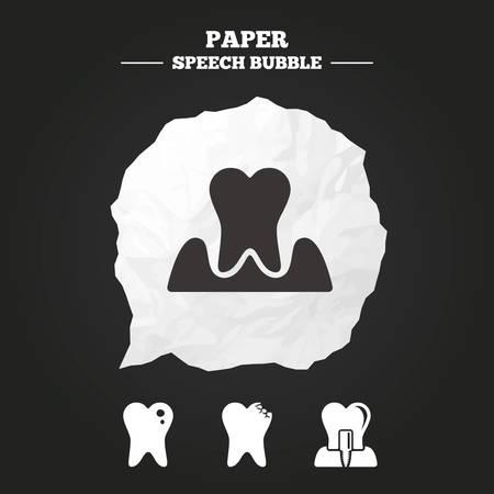 comunicacion oral: Iconos del cuidado dental. Caries dental signo. Diente s�mbolo implante intra�seo. Parodontosis signo de gingivitis. burbuja de papel del discurso con el icono.