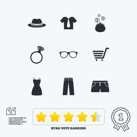 star award: Clothes, accessories icons. Shirt, glasses and hat signs. Wallet with cash coins symbols. Star vote ranking. Award achievement and quotes.
