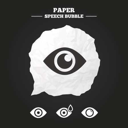 red eye: Eye icons. Water drops in the eye symbols. Red eye effect signs. Paper speech bubble with icon.