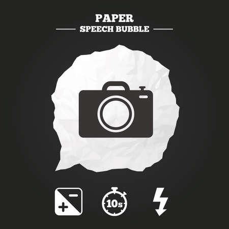cronometro: Foto icono de la c�mara. La luz del flash y de la exposici�n s�mbolos. El cron�metro de 10 segundos firman. burbuja de papel del discurso con el icono.
