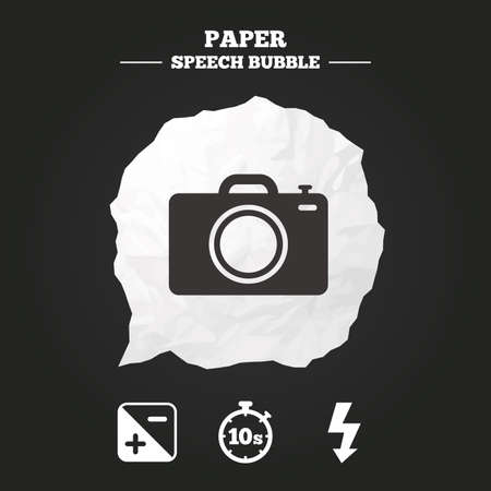 luminance: Photo camera icon. Flash light and exposure symbols. Stopwatch timer 10 seconds sign. Paper speech bubble with icon. Illustration