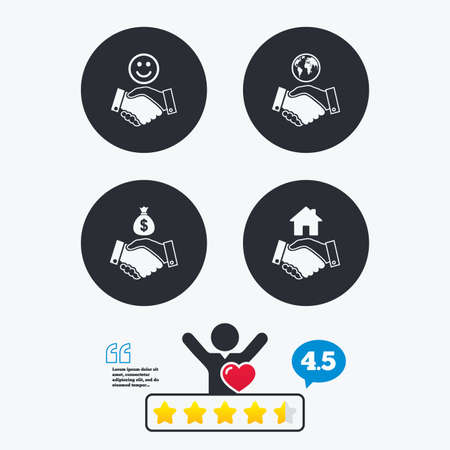 amicable: Handshake icons. World, Smile happy face and house building symbol. Dollar cash money bag. Amicable agreement. Star vote ranking. Client like and think bubble. Quotes with message. Illustration