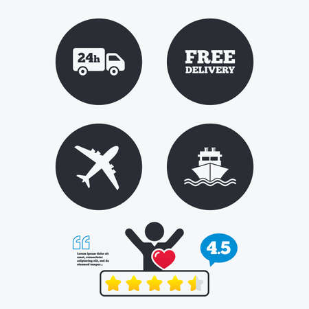 free vote: Cargo truck and shipping icons. Shipping and free delivery signs. Transport symbols. 24h service. Star vote ranking. Client like and think bubble. Quotes with message.