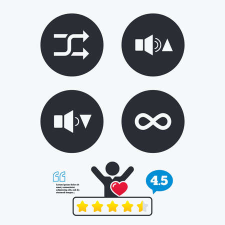 quieter: Player control icons. Sound louder and quieter signs. Dynamic symbol. Shuffle random and repeat loop. Star vote ranking. Client like and think bubble. Quotes with message.