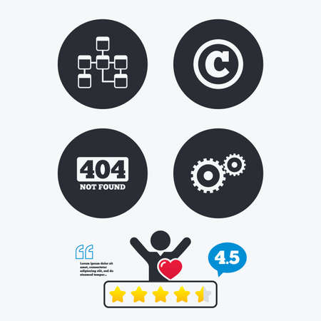 copyrights: Website database icon. Copyrights and gear signs. 404 page not found symbol. Under construction. Star vote ranking. Client like and think bubble. Quotes with message.