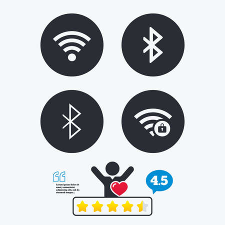 bluetooth: Wifi and Bluetooth icons. Wireless mobile network symbols. Illustration
