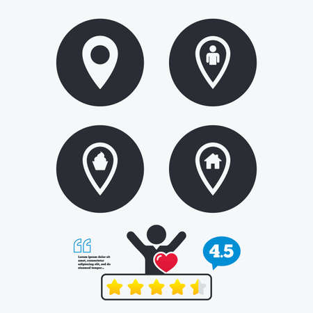 vote here: Map pointer icons. Home, food and user location symbols. Restaurant and cupcake signs. You are here. Star vote ranking. Client like and think bubble. Quotes with message.