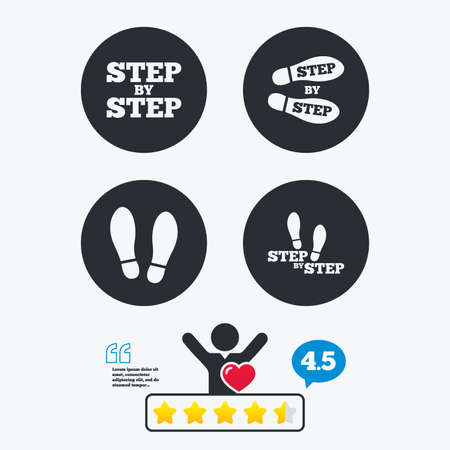 human footprint: Step by step icons. Footprint shoes symbols. Instruction guide concept. Star vote ranking. Client like and think bubble. Quotes with message.