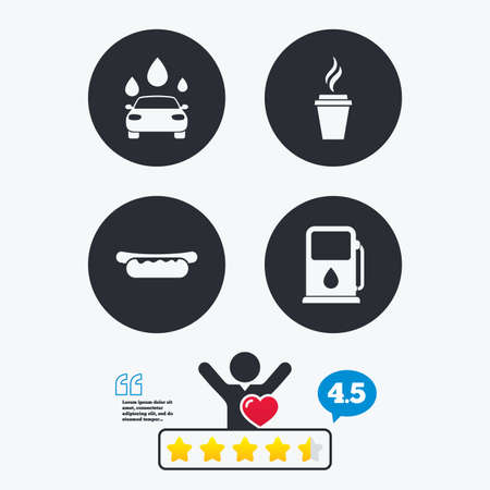 hotdog sandwiches: Petrol or Gas station services icons. Automated car wash signs. Hotdog sandwich and hot coffee cup symbols. Star vote ranking. Client like and think bubble. Quotes with message.