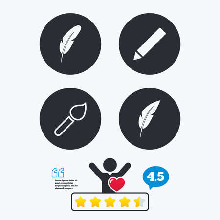 bubble pen: Feather retro pen icons. Paint brush and pencil symbols. Artist tools signs. Star vote ranking. Client like and think bubble. Quotes with message. Illustration