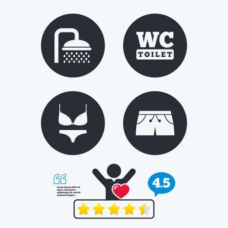 Zwembad pictogrammen. Douche waterdruppels en badmode symbolen. WC teken van het toilet. Trunks en vrouwen ondergoed. Star stem ranking. Client zoals en denken zeepbel. Citaten met bericht.