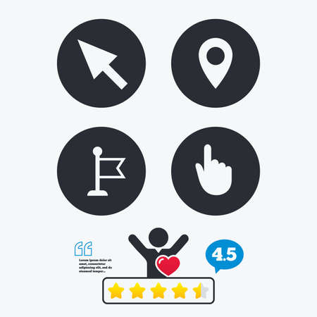 vote here: Mouse cursor icon. Hand or Flag pointer symbols. Map location marker sign. Star vote ranking. Client like and think bubble. Quotes with message. Illustration