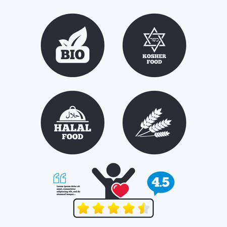 david: Natural Bio food icons. Halal and Kosher signs. Gluten free and star of David symbols. Star vote ranking. Client like and think bubble. Quotes with message.
