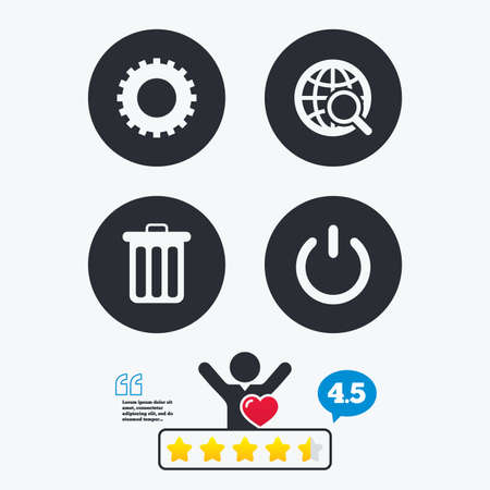 energy ranking: Globe magnifier glass and cogwheel gear icons. Recycle bin delete and power sign symbols. Star vote ranking. Client like and think bubble. Quotes with message. Illustration
