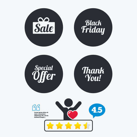 with thanks: Sale icons. Special offer and thank you symbols. Gift box sign. Star vote ranking. Client like and think bubble. Quotes with message.
