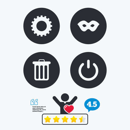 energy ranking: Anonymous mask and cogwheel gear icons. Recycle bin delete and power sign symbols. Star vote ranking. Client like and think bubble. Quotes with message. Illustration